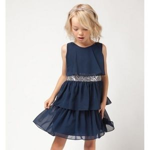 Other - Girls Navy Tiered Chiffon Party Dress Sz 7 and 10